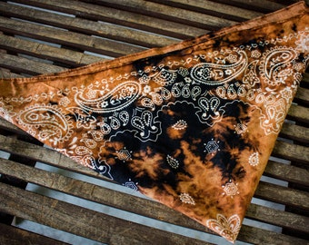 Distressed Black Paisley Bandana - Custom clothing - Punk rock - Accessories - Rock and roll outfit - Grunge - Shredded Dreams