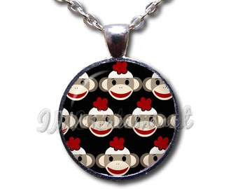 Sock Monkey Pattern Glass Dome Pendant or with Chain Link Necklace PT128