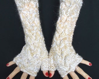 Fingerless Gloves Hand Knitted Cabled Arm Warmers in Light Brown Beige White