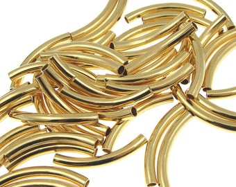 Gold Noodle Beads 26mm x 3.2mm - ID 2mm, Gold Plated Curved Tube Beads Gold Tube Beads Gold Noodles (T4)