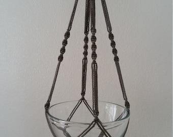 "Hand Crafted Macrame Plant Hanger- Smoke Grey 35"""