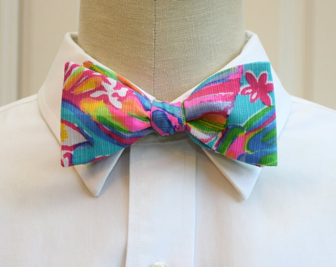 Men's Bow Tie, Summer Haze Lilly print bow tie, groomsmen/groom bow tie, wedding party bow tie, turquoise/pink/multi bow tie, prom bow tie