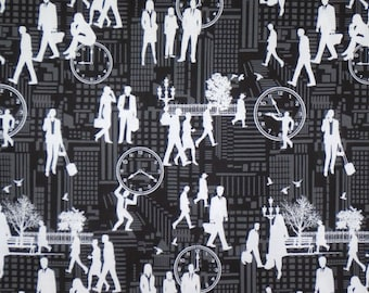 White on Black and Gray Rush Hour Print Pure Cotton Fabric--One Yard