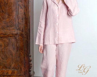 Luxury Linen Pajama Set For Women/ Pajama With Handmade Drawnwork At Sleeves bottom And Pocket
