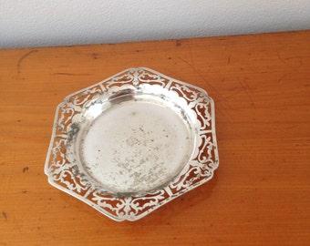 vintage silver plated bon bon dish
