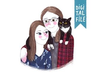custom portrait, illustrated couple portrait, family portrait, personalized illustration, personalized portrait, illustrated family portrait