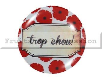 Set of 2 cabochon 16mm round glass, red and white text