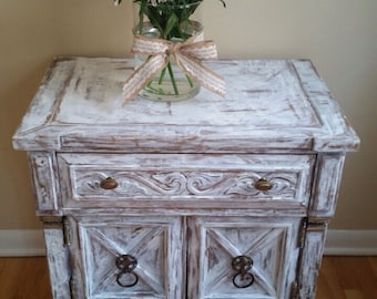 SOLD!Handemade item, white, distressed, hand painted, rustic, dresser, nightstand , beautiful