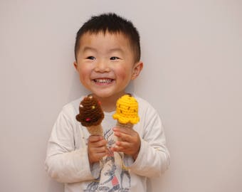 Crochet Ice Cream Play Food photo prop toy rattle baby | Set of 4