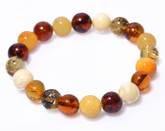 Multicoloured genuine Baltic Amber bracelet