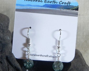 Green jasper seraphinite earrings faceted 6mm stone jewelry semiprecious stone jewelry packaged in a colorful gift bag 3149