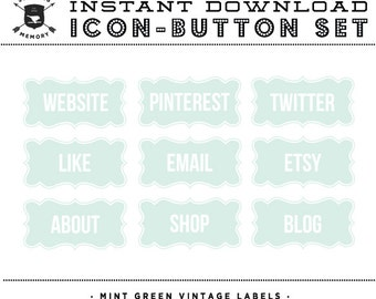 INSTANT DOWNLOAD - Set of 9 Mint Green Vintage Label Social Buttons/Icons - Social Media Buttons - Social Icon Set - Social Media Button Set