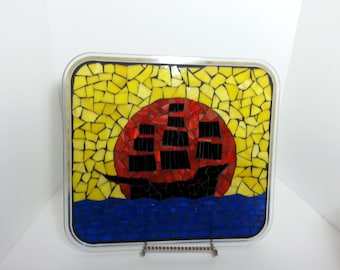 Mosaic Stained Glass Pirate Ship at Sunset