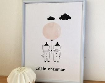 "Graphic poster for children ""Choumi and Michou :little dreamer"" - graphic design poster."