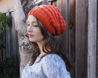 Slouchy Knit Beanie. Orange Beanie. Knit Slouchy Hat. Winter Knit Beanie. Christmas Gift. Womens Winter Hats. Winter Knit Accessories