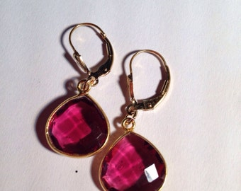 Ruby Quartz Gold Vermeil Earrings