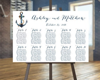 Wedding seating chart, Nautical guests list printable, Anchor seating chart, Find your seat sign, Navy guest list, Beach wedding Custom sign