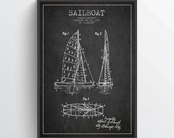 1938 Sailboat Patent Poster, Sailboat print, Sailboat Poster, Patent Art Print, Patent Print, Home Decor, Gift Idea, NA06P