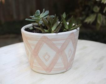 modern porcelain planter, white planter with geometric design, ready to ship