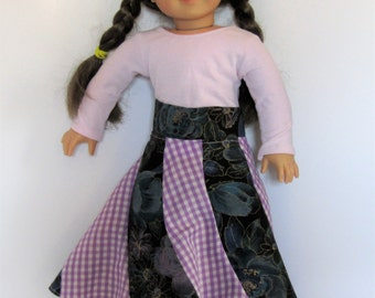 """Purple Plaid Spiral Skirt made to fit American Girl Doll Clothes 18"""""""