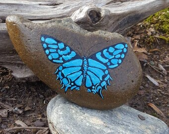 Swallowtail on Stone-BlueAqua/Butterfly Painting/Wildlife Art/Home Decor/Gsrden Decor/Yard Art/Painted Rock/Gift for Her/UniqueGift/StoneArt
