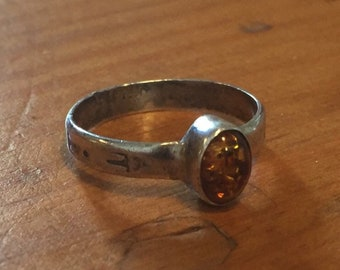 Amber Ring with Stamped Band