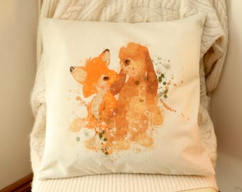 disney the fox and the hound watercolour inspired cushion cover 45 by 45 cm  gift