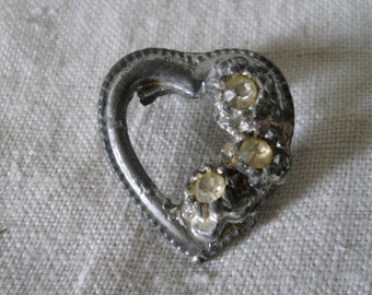 Antique Heart Pin With Rhinestones Very Old Pin Vintage Jewelry