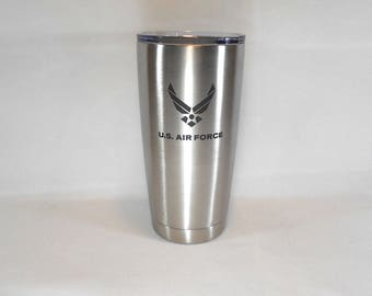 Air Force, Yeti Style Cup, Tumbler, 20oz, Stainless Steel Vacuum Insulated, Air Force Gift