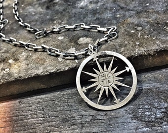Compass necklace mens necklace initial necklace name necklace personalized necklace engraved compass pendant necklace gift silver necklace