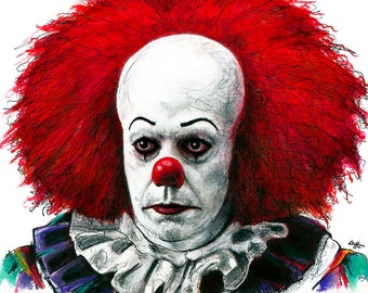 """Print 8x10"""" - Pennywise - Clown Stephen King Horror Fantasy Drama Comedy Classic Monster Creature Scary Halloween Serial Killer Pop Art"""