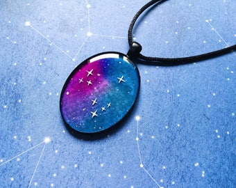 Big Galaxy pendant with faux silk cord, cosmos necklace, goth fantasy jewelry, night sky necklace, gift for her, anniversary