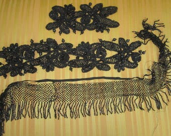 Antique Victorian Edwardian Black Glass Salvaged Beaded Trim for Assemblage