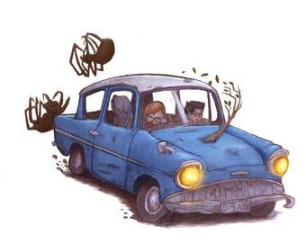 Mr. Weasley's Car Art, Harry Potter Art, Harry Potter Print, Harry Potter Nursery, Harry Potter Gift.