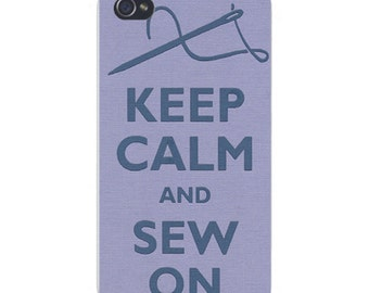 Apple iPhone Custom Case White Plastic Snap on - Keep Calm and Sew On Needle & Thread 0084