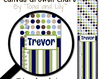 Kids Canvas GROWTH CHART Multi Blue, Navy, Beige, Brown, Green Dots Baby Boy Nursery Canvas Growth Chart - or You Choose Colours GC0228