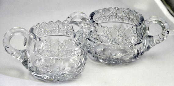 Scarce Antique C1900 IRVING CUT GLASS Co American Cream & Sugar In The Victrola 155 Pattern Large Size, Cut Glass Floral w/ Cross Hatch Rim.