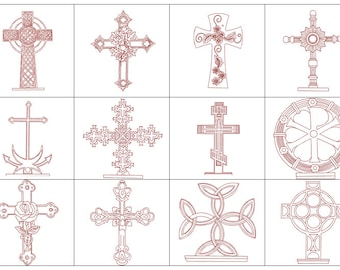 Holy Cross Embroidery PLUS 2 Bonus Designs, Cross Pattern Redwork