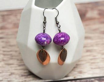 Purple Jade Earrings -- Copper Leaf Drop Charms -- Patterned Stone Beads -- Black Earring Hooks -- UK Shop