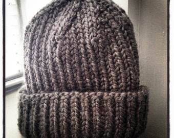 Dark Grey Chunky Wool Ribbed Hat -  Adult size