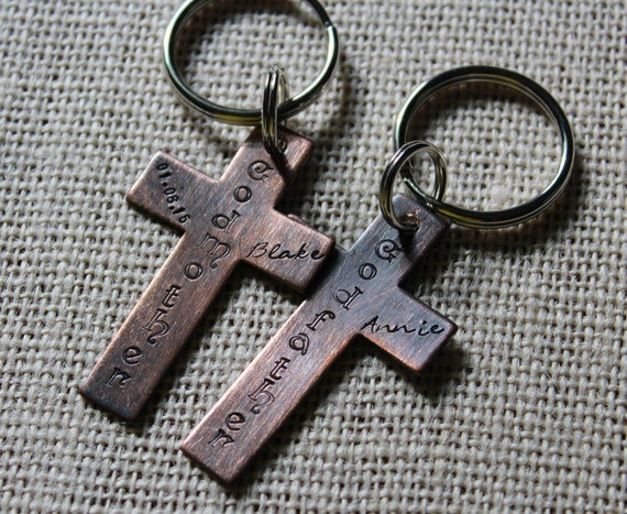 Godparent Keychain Gift For Godparents Gift For: Custom Cross Godparent Keyring Gift For Godparents Gift