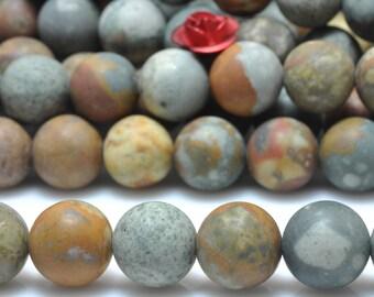 47 pcs of Natural USA Rocky Butte Jasper matte round beads in 8mm (07247#)