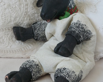 15% OFF!! Floppy the Sheep, Vintage Doll, Lamb,  Sheep Toy, Ceramic and Linen Figure
