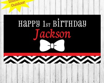 "18""x36"" Bow Tie Personalized Party Banner 