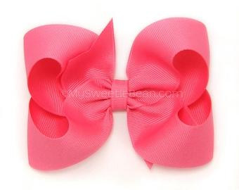 Hot Pink Hair Bow, Bright Pink Bow, 4 inch Boutique Bow, Hot Pink Bow, Grosgrain Boutique Bows for Girls, Toddler Hair Bows, Baby Girls