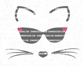 cat face svg - cat svg file - cat cut file - Cat with sunglasses -  cat png - svg files, pet svg, cutting file, commercial svg,  cat clipart