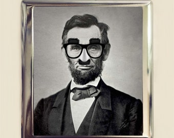 Abraham Lincoln Cigarette Case Business Card ID Holder Wallet Pop Surrealism Abe in Disguise Lowbrow Altered Art