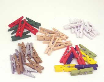 Mini wooden pegs. Mini pegs. Natural, white, multi coloured, red and green, gold and silver. 1 inch / 2.5 cm. Pack of 50