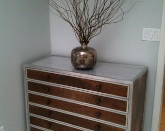Walnut and metal credenza/dresser