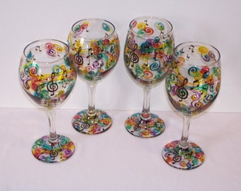 Hand Painted Music Note Wine Glasses